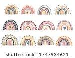 set of watercolor stylish... | Shutterstock . vector #1747934621