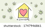 social distancing  stay home in ... | Shutterstock .eps vector #1747946861