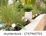 Ambient lighting on terrace and garden with rgb spots - stock photo