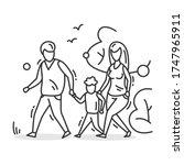 family walk icon. outline... | Shutterstock .eps vector #1747965911