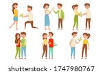 young man giving bunch of... | Shutterstock .eps vector #1747980767