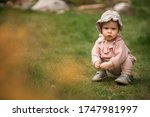Cute Baby Girl With Bonnet Hat...