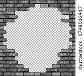 vintage realistic broken brick... | Shutterstock .eps vector #1748012417