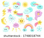 cute weather emoticons. funny... | Shutterstock .eps vector #1748018744