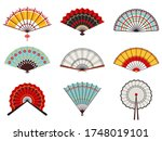 asian hand fans. paper folding... | Shutterstock .eps vector #1748019101