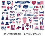 photobooth usa patriotic props. ... | Shutterstock .eps vector #1748019107