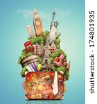tourist collage  travel ... | Shutterstock . vector #174801935