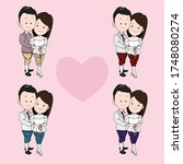 a couple in thai traditional...   Shutterstock .eps vector #1748080274