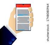 hand holding smart phone... | Shutterstock .eps vector #1748080964