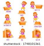 little girl and carton box as... | Shutterstock .eps vector #1748101361