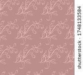 pattern seamless twigs plant... | Shutterstock .eps vector #1748133584
