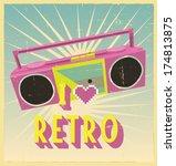 i love retro sign with cassette ...   Shutterstock .eps vector #174813875