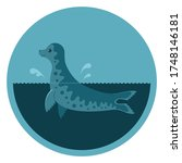 round emblem with a seal  a... | Shutterstock .eps vector #1748146181