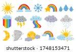 cute cartoon weather. happy hot ... | Shutterstock .eps vector #1748153471