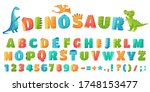 cartoon dino font. dinosaur... | Shutterstock .eps vector #1748153477