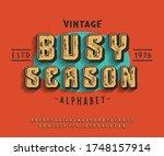 busy season font. 3d display...   Shutterstock .eps vector #1748157914