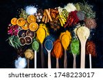 Many Multi Colored Spices And...