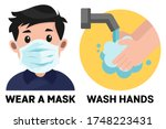 child with surgical mask. wash...   Shutterstock .eps vector #1748223431