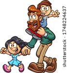 cartoon father walking with son ... | Shutterstock .eps vector #1748224637