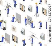 character electrician in... | Shutterstock .eps vector #1748272037
