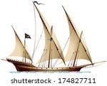 pirate ship xebec  sailing ship ...   Shutterstock .eps vector #174827711