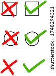 checkbox set with cross and... | Shutterstock .eps vector #1748294321