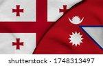 Flag Of Georgia And Nepal   3d...