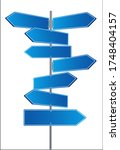 direction road signs arrows on... | Shutterstock .eps vector #1748404157