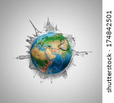 earth planet on grey background ... | Shutterstock . vector #174842501