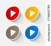 paper sticker  play button web... | Shutterstock .eps vector #174845789