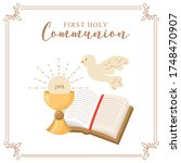 first holy communion invitation ...   Shutterstock .eps vector #1748470907