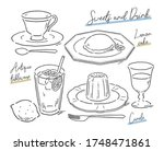 sweets and drink on antique... | Shutterstock .eps vector #1748471861