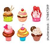 cute cupcake set | Shutterstock .eps vector #174847349