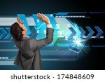 businessman standing with arms... | Shutterstock . vector #174848609