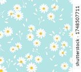 seamless of daisy flower on... | Shutterstock .eps vector #1748507711