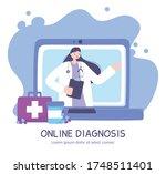 online doctor  laptop screen... | Shutterstock .eps vector #1748511401
