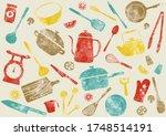 pattern of kitchen tools... | Shutterstock .eps vector #1748514191