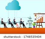 rpa vector concept  robot doing ... | Shutterstock .eps vector #1748535404