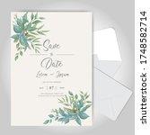 greenery watercolor wedding...   Shutterstock .eps vector #1748582714