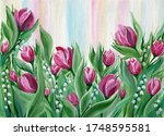 Bright Pink Tulips With Lilies...