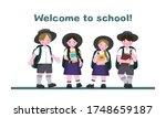 australian schoolchildren  boys ... | Shutterstock . vector #1748659187