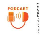 logo podcast radio microphone... | Shutterstock . vector #1748659217