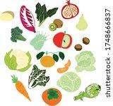 fruits and veggies vector... | Shutterstock .eps vector #1748666837