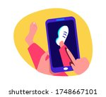 Online Shopping.Virtual Digital Fitting Image.3D Picture.Buy Clothes,Footwear,Sneakers Online.New Purchase.Consumption.Smartphonre Digital Internet Market Shop.Client Consumer.Flat Vector Illustration