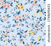 wild flowers background. simple ... | Shutterstock .eps vector #1748690651