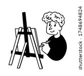 artist painting on an easel...   Shutterstock .eps vector #1748694824