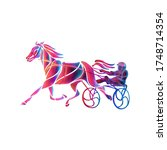 trotting. horse riding in a...   Shutterstock . vector #1748714354