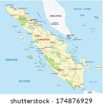 sumatra road and national park map - stock vector