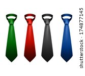 Neck Ties Collection. Vector...