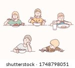 group of kids on the dining... | Shutterstock .eps vector #1748798051